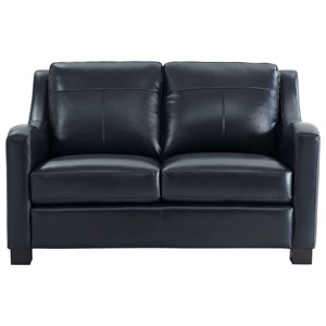 Leather Loveseat with Sloped Track Arms