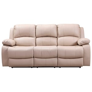 Leather Power Reclining Sofa with Drop-Down Table and Cupholders