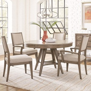5 Piece Round Table and Chair Set with Leaf