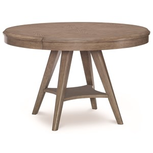 """Round to Oval Pedestal Table with 18"""" Leaf"""