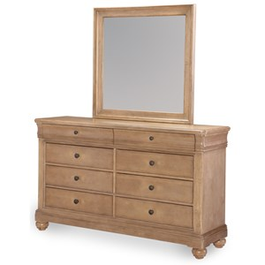 8 Drawer Dresser and Mirror with Felt Lined Top Drawers
