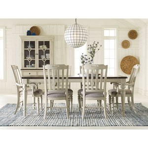 7-Piece Dining Set with Leg Table and 6 Chairs