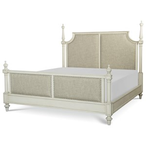 King Upholstered Bed with Turned Posts
