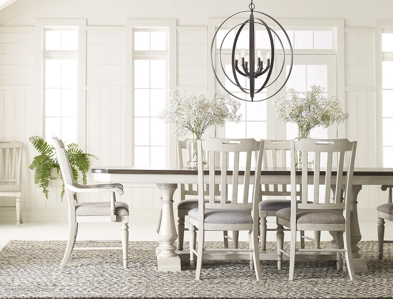 Brookhaven Trestle Table with 4  Slatback Chair by Legacy Classic at Johnny Janosik