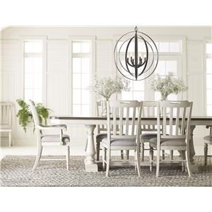 Trestle Table with 4  Slatback Chair