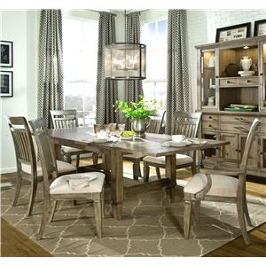Legacy Classic Brownstone Village 7-Piece Trestle Table and Slat Chair Set