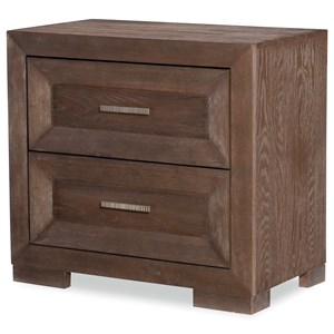 Transitional 2-Drawer Nightstand with Outlet and USB Port