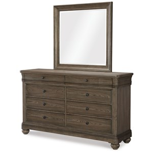 Transitional Dresser and Mirror Set