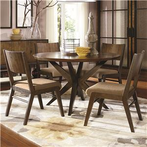 5 Piece Pedestal Table and Wood Back Chairs Set