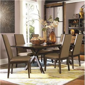 7 Piece Rectangular Table with Trestle Bottom and Upholstered Chairs Set
