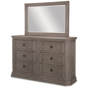 Relaxed Vintage Six Drawer Dresser and Mirror Set