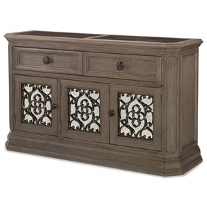 Relaxed Vintage Dining Credenza with Wine Storage and Marble Top