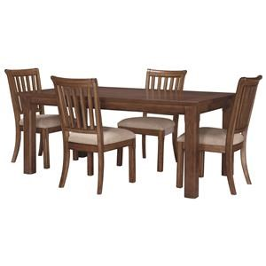 """Transitional 5-Piece Table and Chair Set with 18"""" Extension Leaf"""