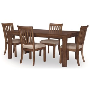 "Transitional 5-Piece Table and Chair Set with 18"" Extension Leaf"