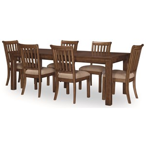 "Transitional 7-Piece Table and Chair Set with 18"" Extension Leaf"