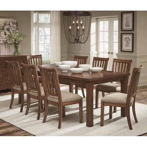 "Transitional 9-Piece Table and Chair Set with 18"" Extension Leaf"