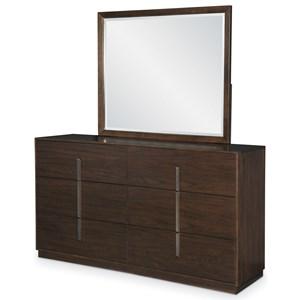 Contemporary 6-Drawer Dresser and Mirror Set