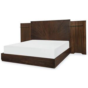 Contemporary California King Wall Panel Bed with Floating Shelves