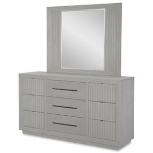 Contemporary 9 Drawer Dresser and Mirror Set