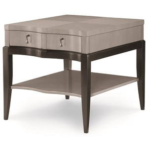 Transitional End Table with Lower Shelf