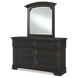 Transitional 6 Drawer Dresser and Arched Mirror Set