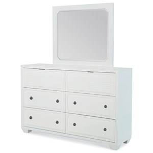 Transitional 6-Drawer Dresser and Mirror Set with Felt-Lined and Cedar-Lined Drawers