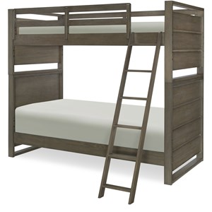 Twin Over Twin Bunk Bed with Ladder and Guard Rails