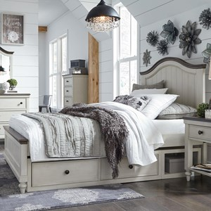 Relaxed Vintage Twin Panel Bed with Underbed Storage