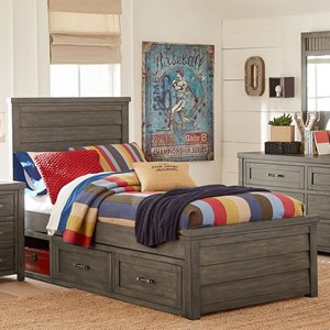 Rustic Casual Twin Panel Bed with Underbed Storage Unit