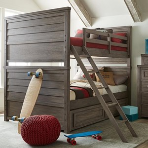 Rustic Casual Full over Full Bunk Bed with Trundle Storage Drawer