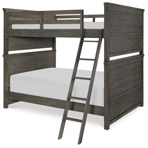 Rustic Casual Full over Full Bunk Bed with Ladder and Guard Rails