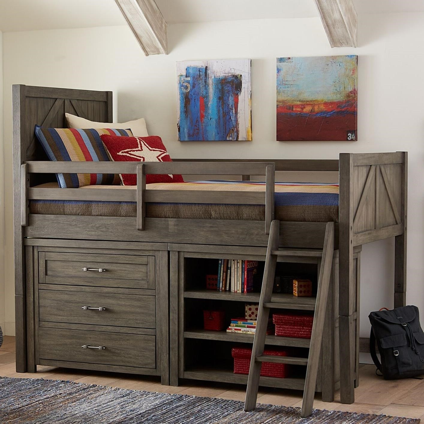 Bunkhouse Twin Mid Loft Bed with Dresser and Bookcase by Legacy Classic Kids at Suburban Furniture