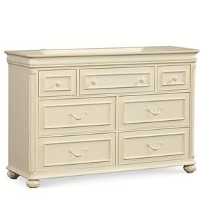 7 Drawer Dresser with Carved Bun Feet and Pilaster Details