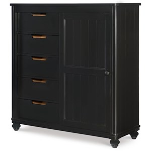 Black Sliding Door Chest with 5 Drawers