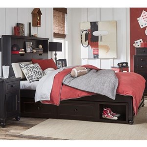 Twin Upholstered Bookcase Bed with Underbed Storage
