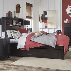Twin Upholstered Bookcase Bed with Storage Trundle