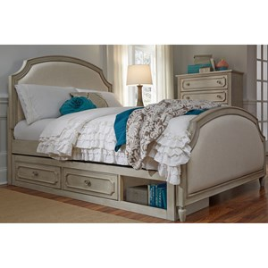 Queen Upholstered Panel Bed with Storage