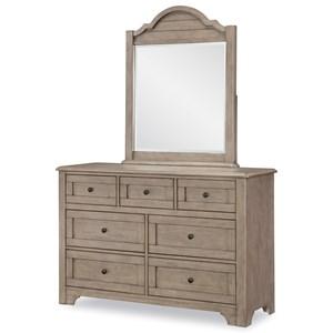 Modern Farmhouse Dresser and Mirror Set