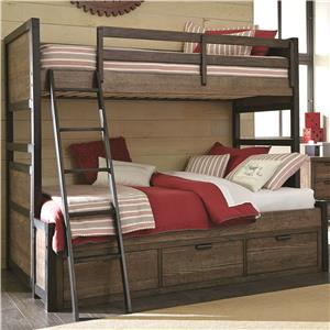 Twin Over Full Bunk Bed with 3 Storage Drawers