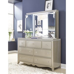 Glam 7-Drawer Dresser and Vanity Mirror with LED Lighting