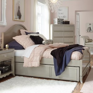 Glam Twin Panel Bed with Trundle and Storage
