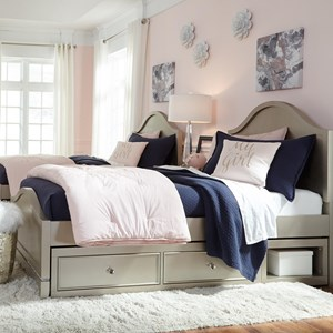Glam Full Panel Bed with Underbed Storage Unit