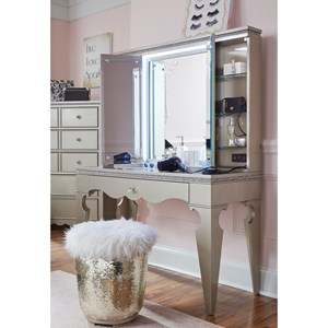 Glam Vanity with USB Port and Outlet