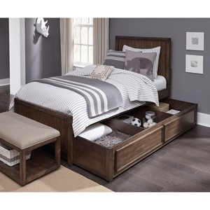 Contemporary Full Panel Bed with Storage Trundle