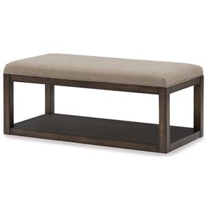 Upholstered Bench with Bottom Shelf