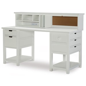 Jr. Executive Hutch Desk with USB Ports and Corkboard
