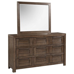 Modern Rustic 9-Drawer Dresser and Mirror Combo
