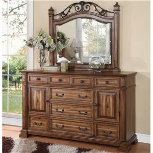 Dresser with 9 Drawers and 2 Doors and Mirror Set