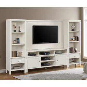 Solid Pine Entertainment Wall Unit with Back Panel w/ TV Mount in White Finish