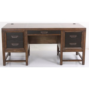 Transitional Pedestal Desk with 5 drawers